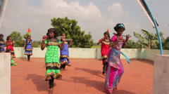 Indian Little Girls Dancing in Traditional Dresses Stock Footage