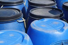 Stock Photo of Blue plastic 200 litre barrel