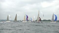 Sailing boats participating at Kieler Woche regatta  Stock Footage
