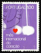 Postage stamp Portugal 1972 Heart and Pendulum Stock Photos