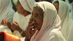 Indian Old Woman Paying Attention Stock Footage