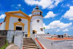 Guia Lighthouse, Fortress and Chapel, Macau. Stock Photos