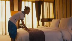 1of5 Asian maid cleaning hotel room, woman, people at work Stock Footage