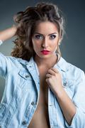Fabulous visage model posing at camera - stock photo
