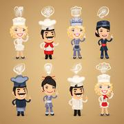 Chefs with Icons Set Stock Illustration