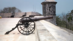 Antique cannons in fort - stock footage
