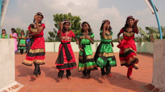 Indian Little Girls Dancing in Traditional Dresses - stock footage