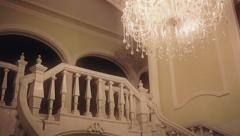 Curved stairs in elegant mansion - stock footage