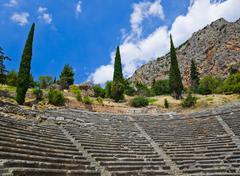 Ruins of amphitheater in Delphi, Greece Stock Photos