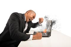 stress and frustration caused by a computer - stock illustration