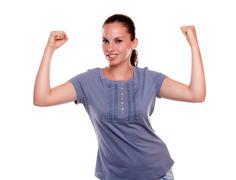 Satisfied young female with a positive attitude - stock photo