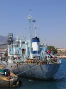 Cargo vessel at harbor Stock Photos