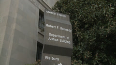 Department of Justice sign (Push) Stock Footage