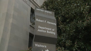 Stock Video Footage of Department of Justice sign (Push)