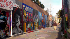 Stock Video Footage of Street murals at Clarion Alley, Mission District, San Francisco.