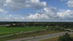 Traffic A32 highway in Dutch rural landscape, Woldberg, The Netherlands Stock Footage