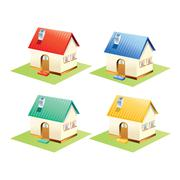 Colorful houses set isolated . Vector Illustration. Stock Illustration