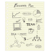 Vector drawing business plan concept on paper note. Stock Illustration