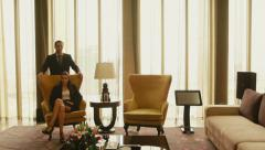 2of21 Business people, hotel suite room, husband, wife, luxury home Stock Footage