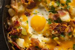 homemade hearty breakfast skillet - stock photo