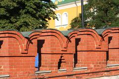 Architecture elements of kremlin wall in moscow, russia .... Stock Photos