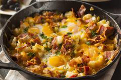 Homemade hearty breakfast skillet Stock Photos