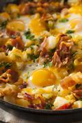 homemade hearty breakfast skillet - stock photo