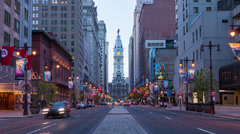 Stock Video Footage of 4K night timelapse of Philadelphia streets  - Pennsylavania USA