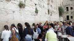 Wailing Wall in Jerusalem. old town Stock Footage