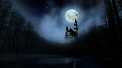 Scary dark castle in the woods. Stock Footage