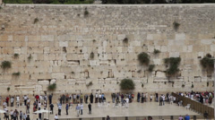 Wailing Wall in Jerusalem. old town - stock footage