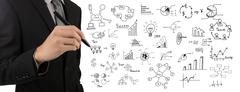 business man hand drawing success graph over white background - stock illustration