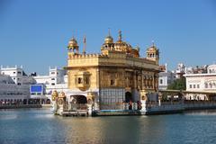 golden temple in amritsar - stock photo