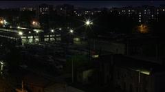 Timelaps tram, tramlines in the night Stock Footage