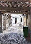 Decrepit courtyard in Paris - stock photo