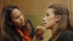 3of4 Makeup artist working with young woman, girl, beauty treatment Stock Footage