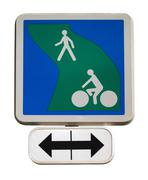 Road sign for the cycle path Stock Photos