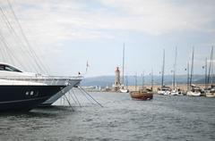 Anchored Yacht in St. Tropez Stock Photos