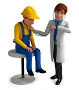 Young doctor analyzed patient - stock illustration