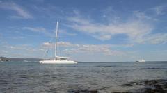 White catamaran Stock Footage