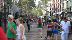 Walking the Rambles in Barcelona Stock Footage