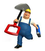 Young Plumber with spade - stock illustration