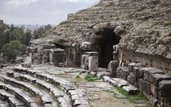 ancient greek amphitheater in turkey, abstract architecture - stock photo