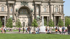 People walking next to Berlin Cathedral Stock Footage