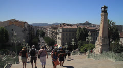 Marseille France from the steps of the Train Station Stock Footage