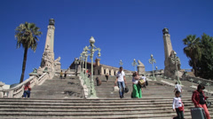 Steps to Saint-Charles Train Station in Marseille France Stock Footage