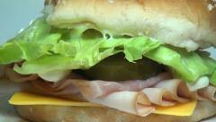 Ham and Cheese Sandwich, Lunch, Junk Food, Fast Food Stock Footage