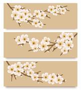 three flower branch banners. vector. - stock illustration