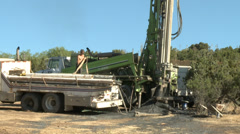 Drought Water Well Drilling Rig with Operator Stock Footage