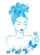 Girl with butterflies - stock illustration